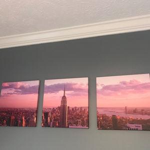 3 piece canvas of New York Skyline